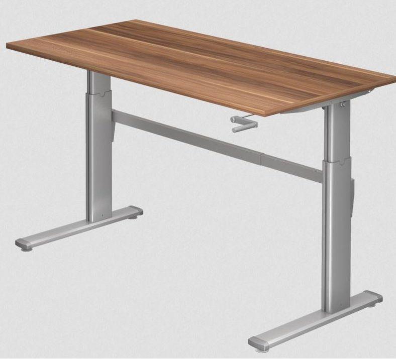 Schreibtisch und Steharbeitstisch mechanisch höhenverstellbar mit Kurbelantrieb