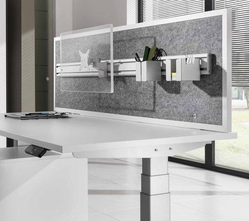 schallabsorbierende Schreibtisch-Trennwand mit Monitorhalterung