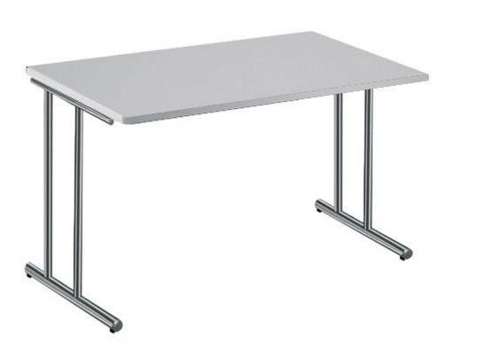 Büroschreibtische Stahlgestell Platte weiß