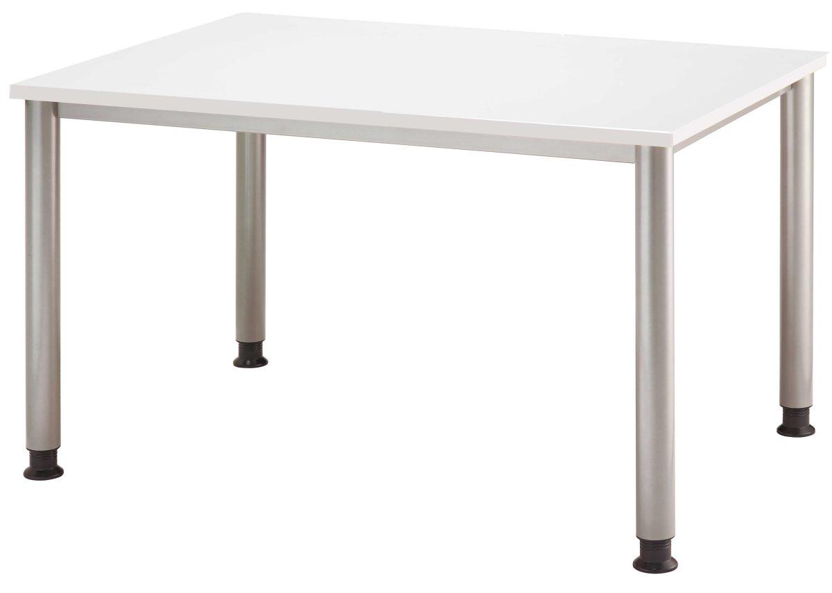 kompakter 4-Fuß-Schreibtisch 120 x 80 cm mit weißer Tischplatte