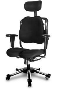 Schreibtischstuhl mit zweigeteilter Sitzfläche und Lordosenstütze