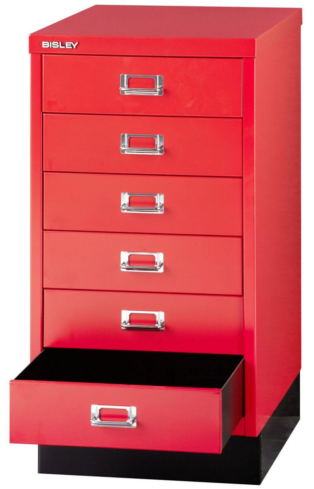 roter Büro-Schubladenstahlschrank 6 Schubladen