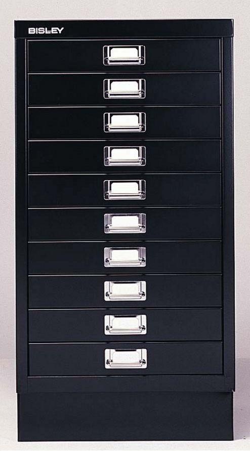 schwarzer Büro-Schubladenstahlschrank 10 Schubladen