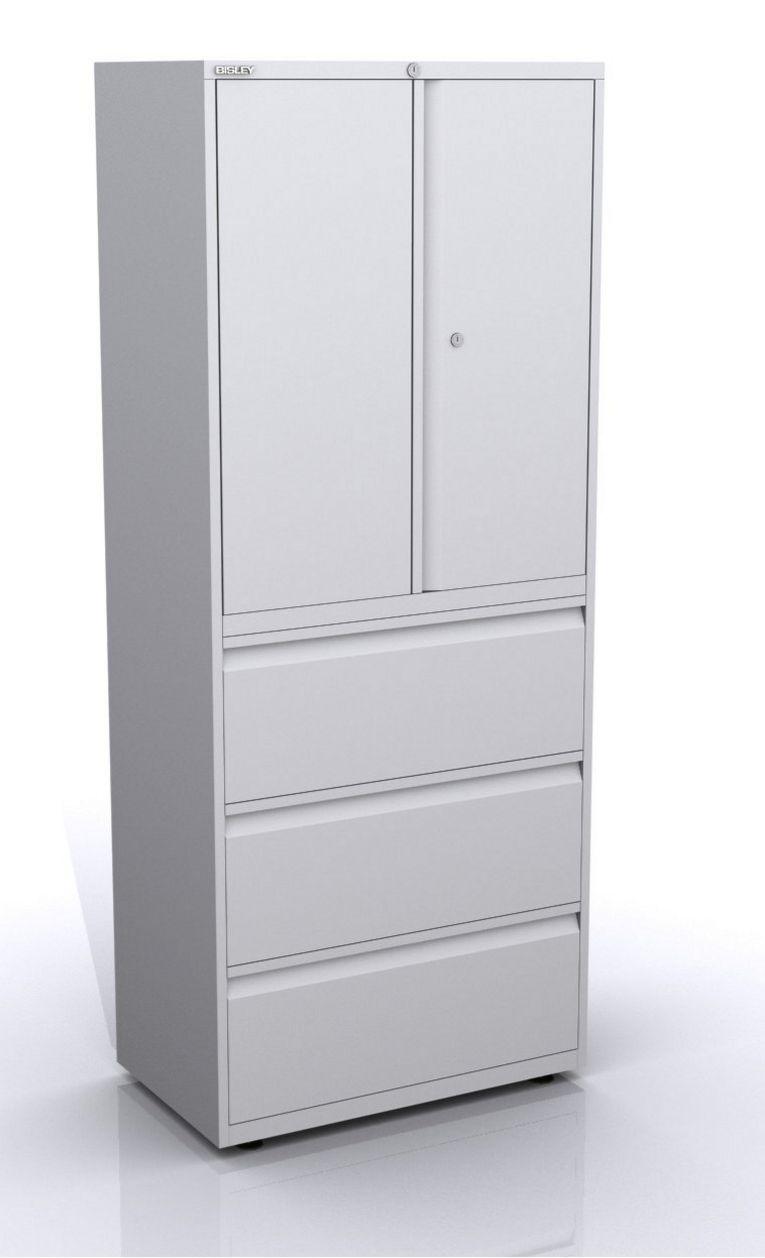 Bürostahlschrank mit Flügeltüren und Schubladen abschließbar