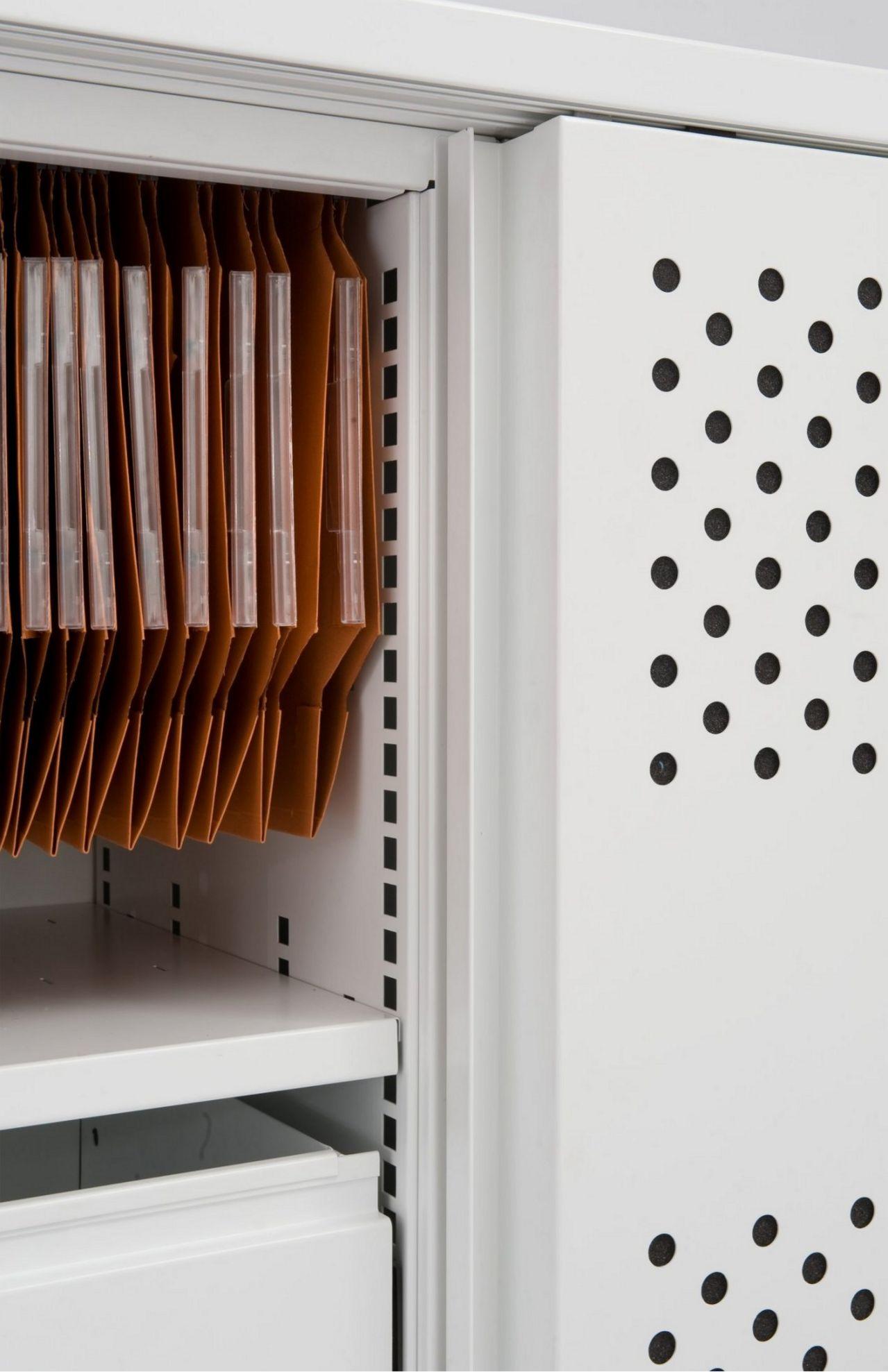 perforierter-schallgedämmter Schiebetüren-Büroschrank