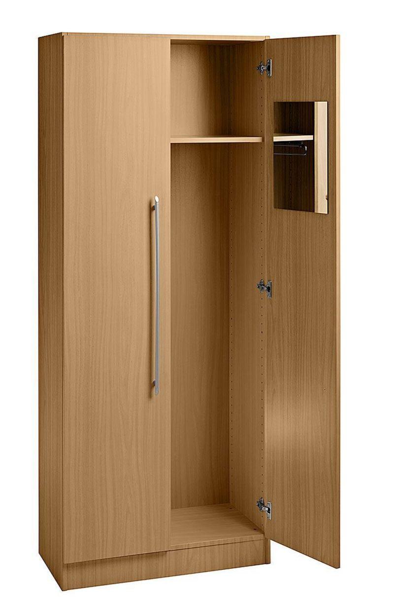 Büro-Garderobenschrank mit Garderobenstange, Kleiderhaken, Spiegel