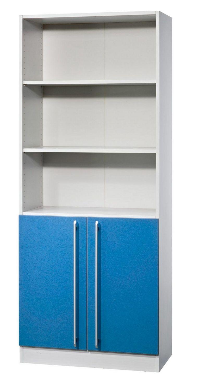 halboffener Büroschrank mit geschlossenen Schrankfach