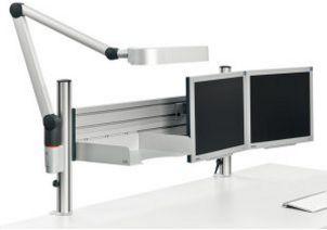 zweifache-Monitorhalterung-Schreibtischlampe-Ablagefach-Tischbefestigung