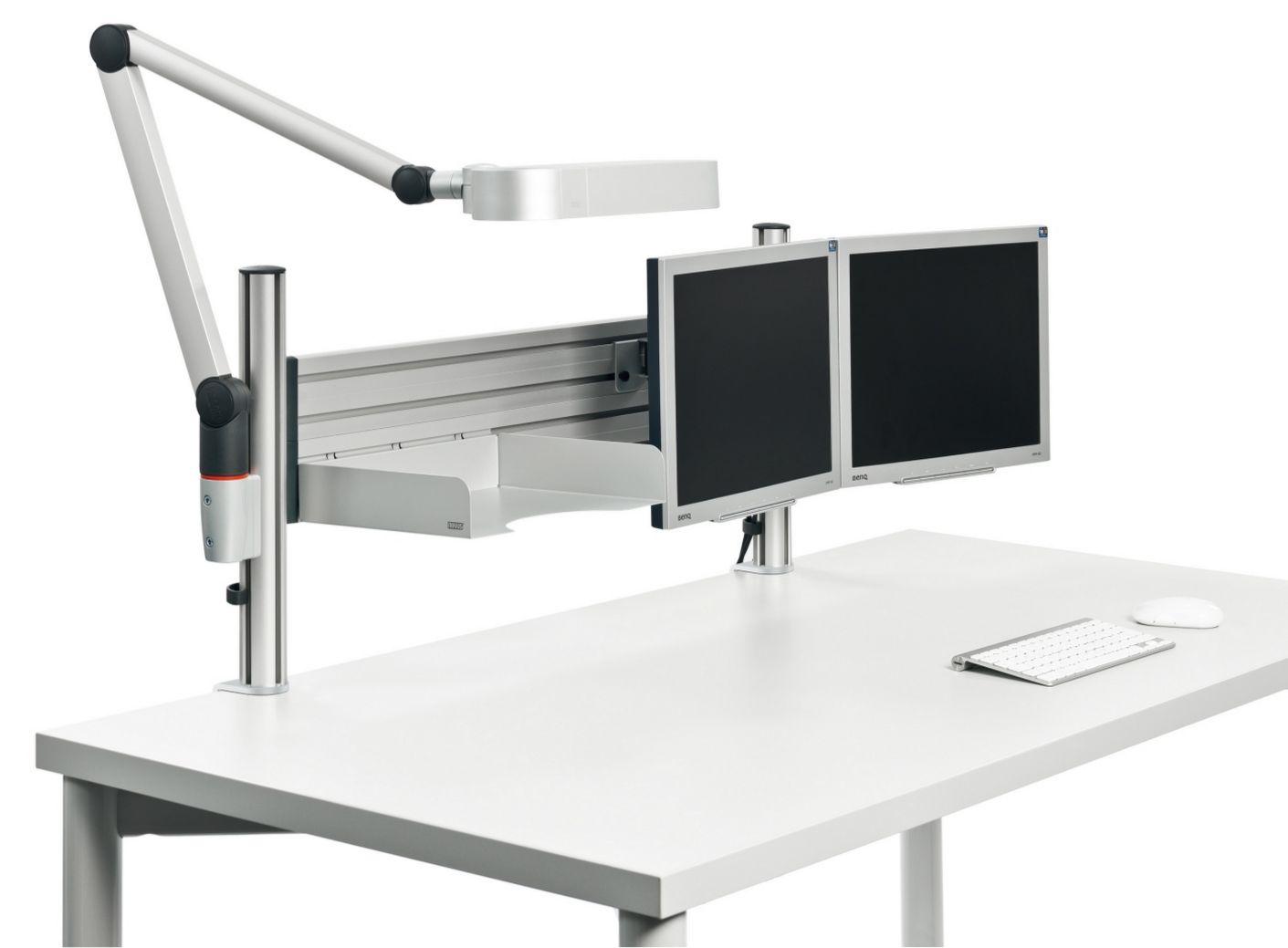Tischhalterung 2 Monitore, Schreibtischlampe und Ablagefach