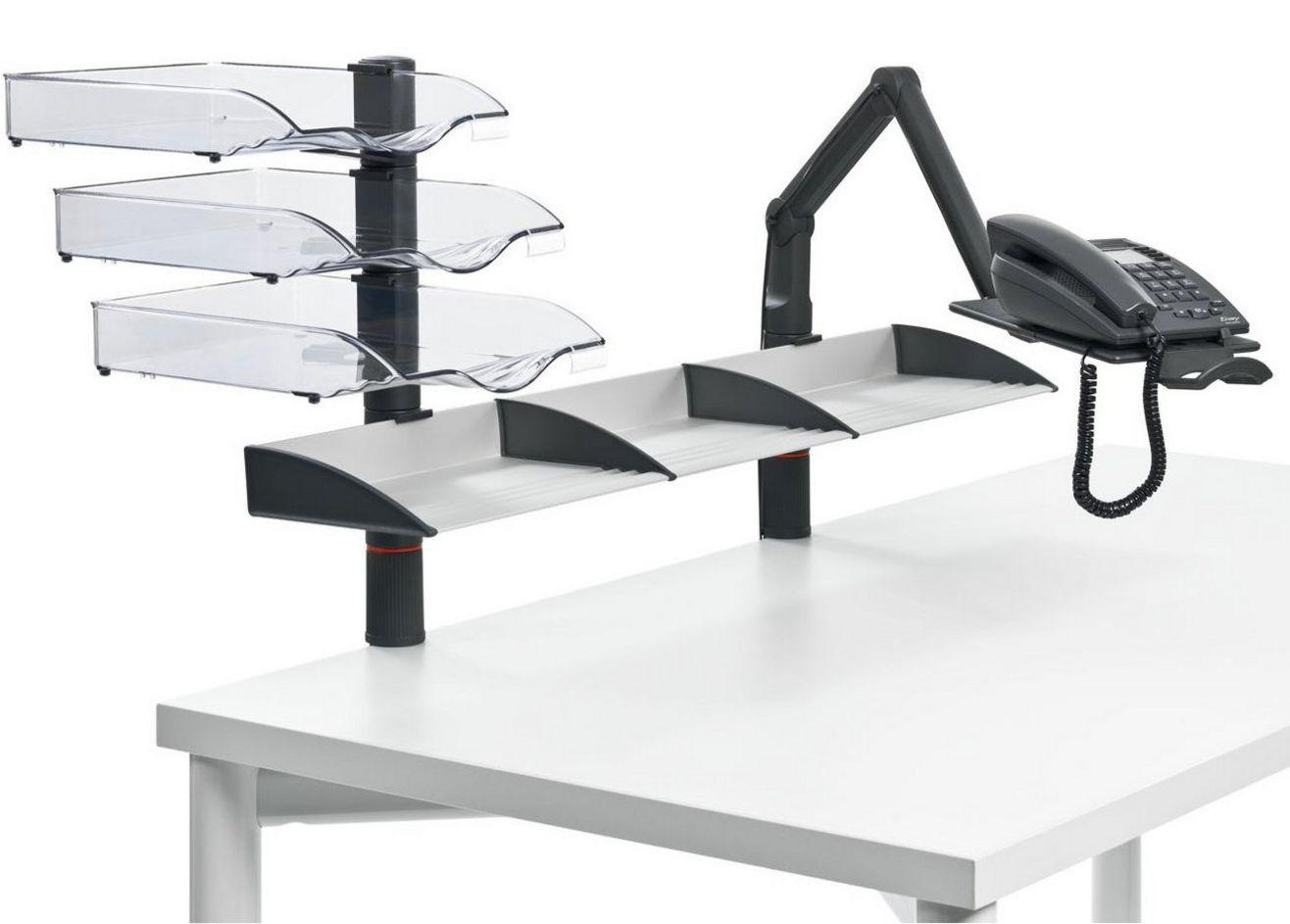 Tischhalterung für schwenkbaren Telefon-Tragarm und Dokumenten-Ablagefächer
