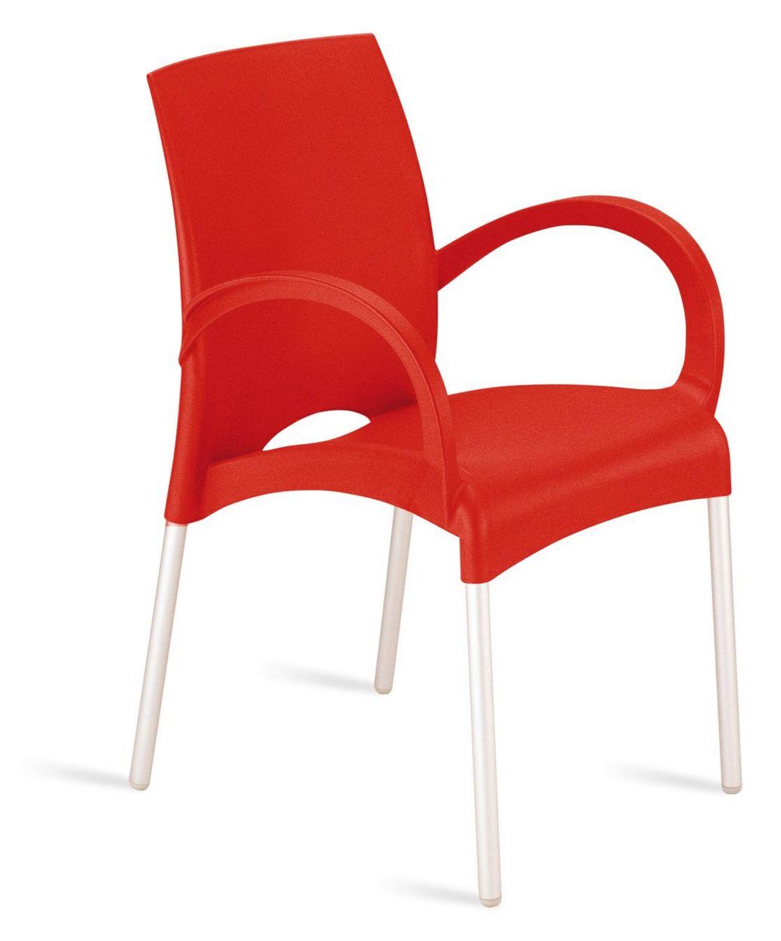 roter Stuhl mit Armlehnen