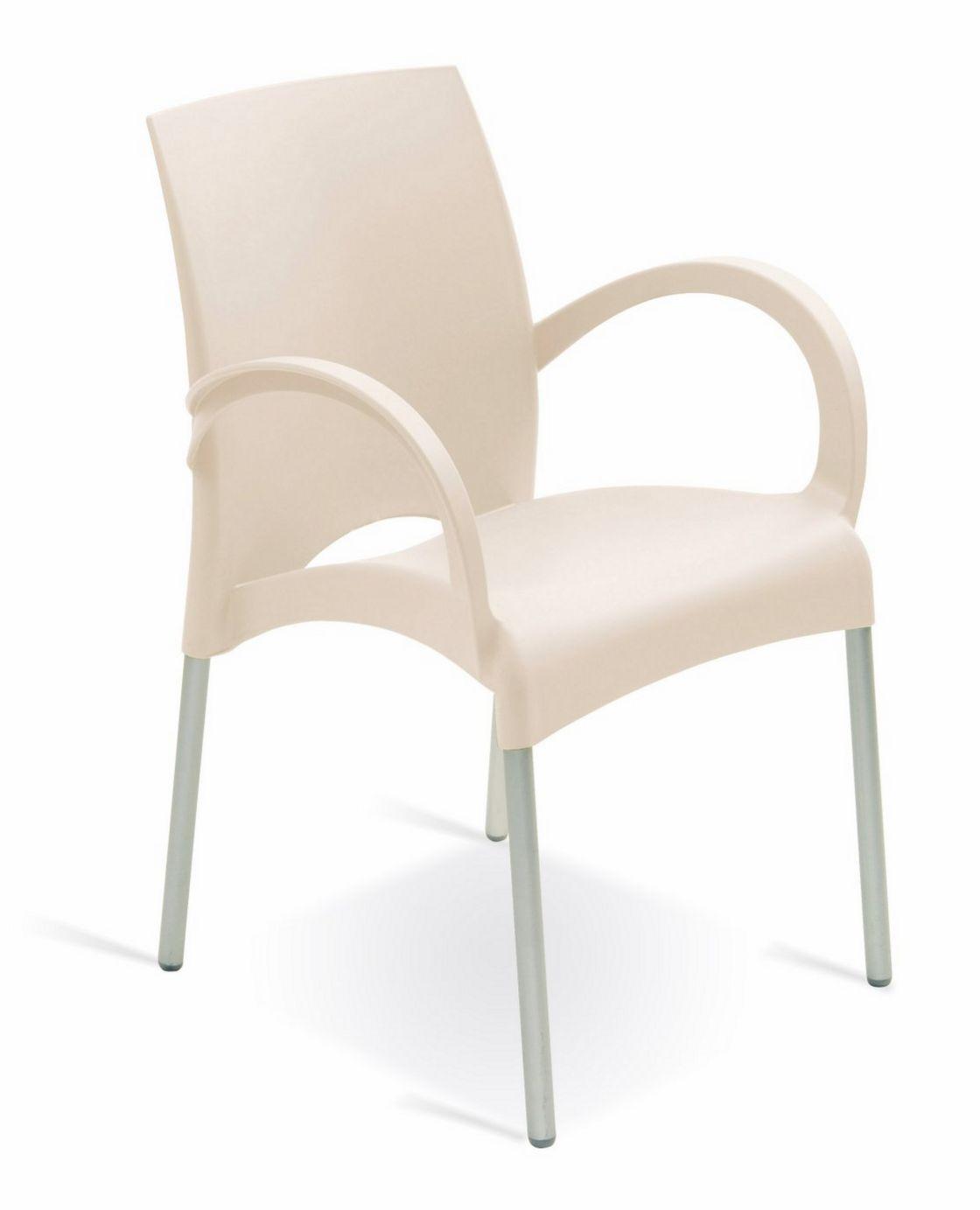 weißer Stuhl mit Armlehnen