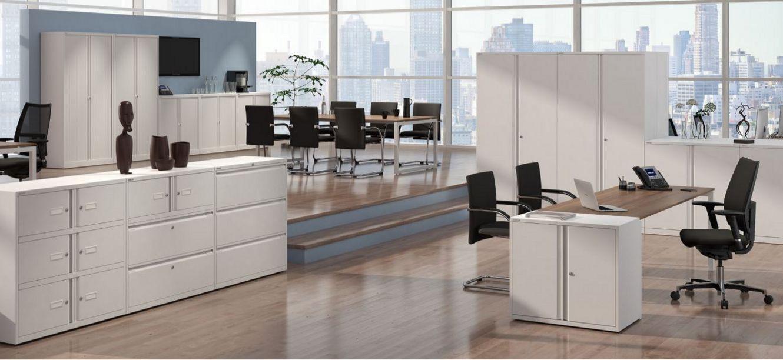 abschließbarer Bürostahlschrank weiß